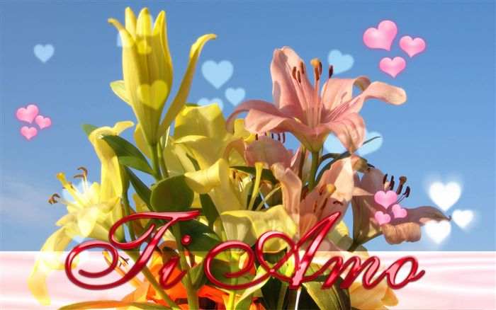 wallpaper ti amo lilium bouquet
