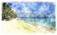 watercolor beach