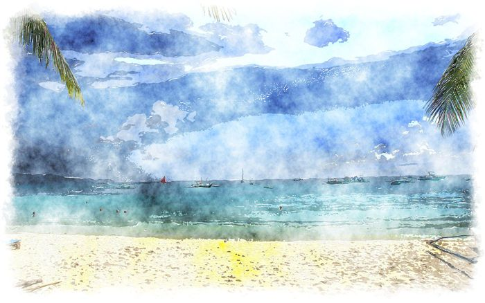 watercolor white beach
