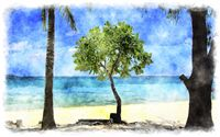 watercolor tropical beach