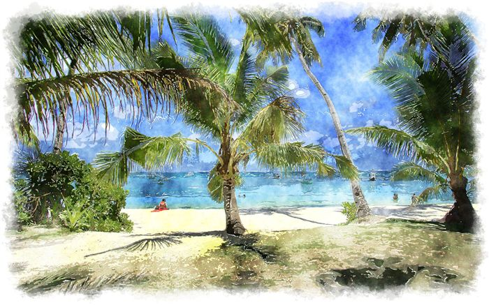 watercolor tropical scenery